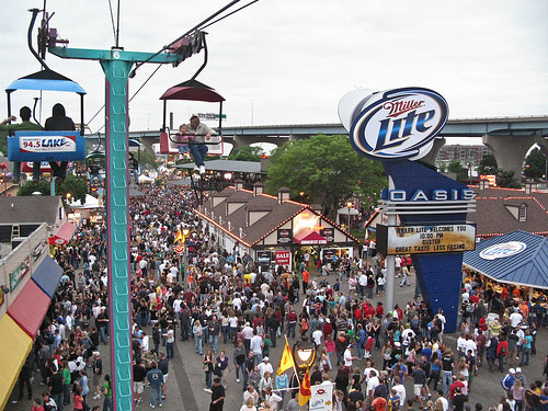 Areal view of a crowd of people a the Summerfest Grounds.