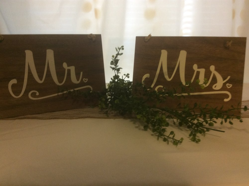 Mr & Mrs Hanging Wood Signs - Rental $8.00 each set - 2 available