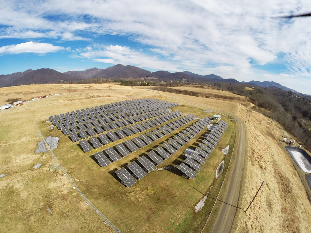 Canton Solar Farm - Riverside Solar's founder Brownie Newman helped develop and finance the first solar farm in Western North Carolina. The 500 kW system was constructed in 2009 on a retired landfill in Canton, North Carolina. photo courtesy of FLS Energy