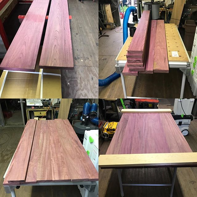 Just got this amazing Purple Heart milled down. Getting ready to use the Festool domino DF 500 Q-set to join it all together.  #woodworking #millwood #millwork #routerbits #customwoodwork #woodworkingtools #festool #purpleheartwood #purple #woodworking  #woodwork #customtable