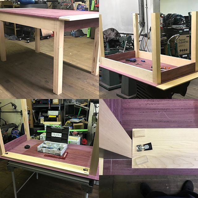 This is our first table build out of purple heart and white oak. We got everything joined with the Festool domino and used the KV D8/50 corner connectors on the legs,skirts and aprons. Just some finish sanding to do now. Nothing the Festool ETS 150/5 EQ can't handle. #customtables #customtable #customdesign #chicagodesign #chicagodesigner #chicagowoodworking #woodwoking #woodworking #hardwood #handcrafted #festool #festooldomino #festoolusa