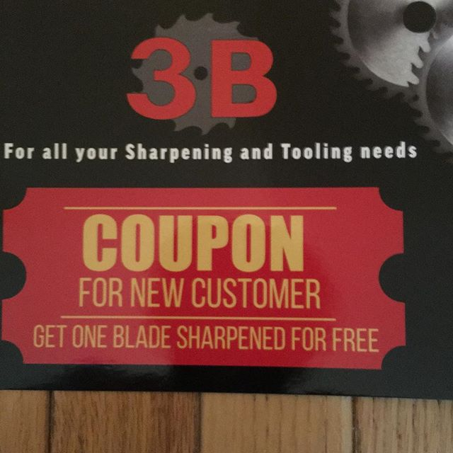 3B Saw & Tool Inc has 30 plus years of sharpening experience. We are offering all new customers a free Saw Blade Sharpening. Call us at 1-708-386-2365
