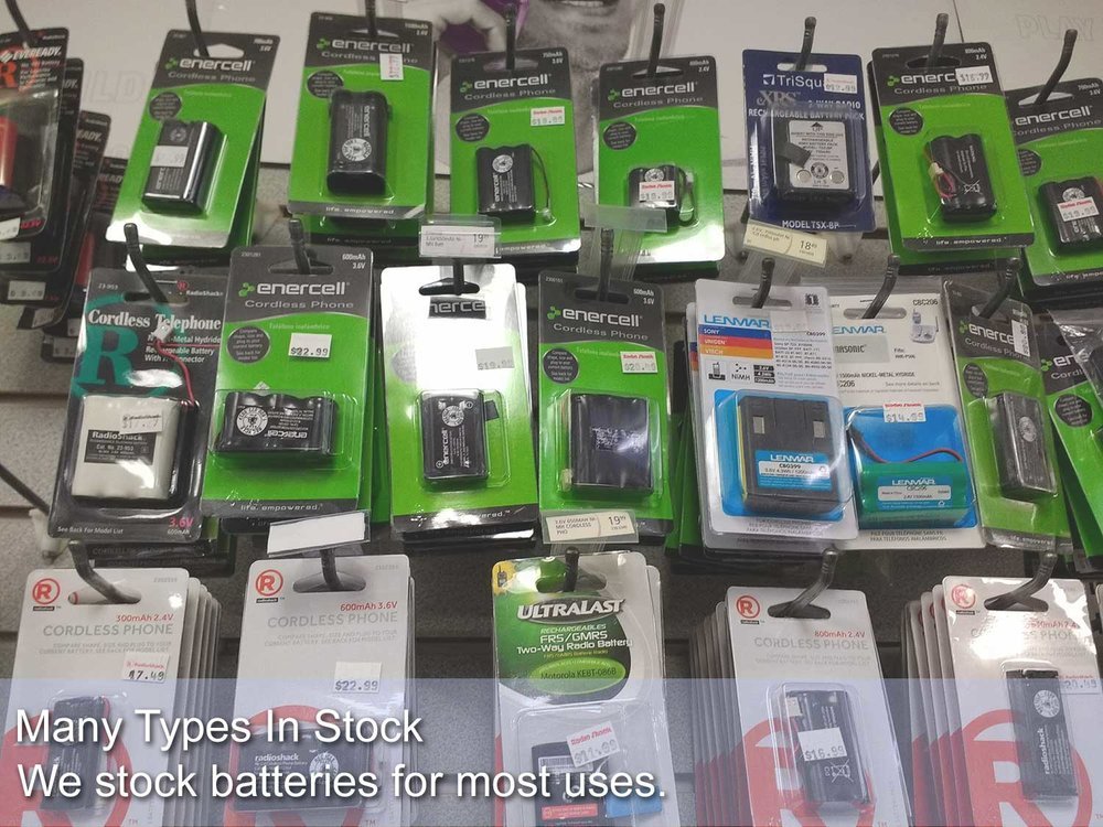 Many types of batteries in stock including batteries for watches, hearing aids, cordless phones, toys and many others.