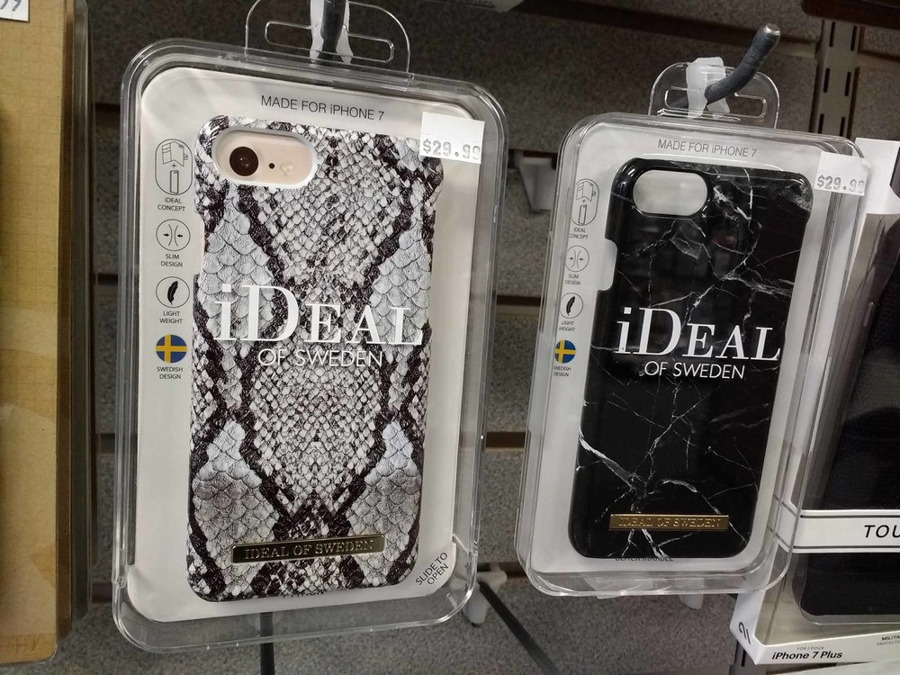 Designer smartphone cases in stock.