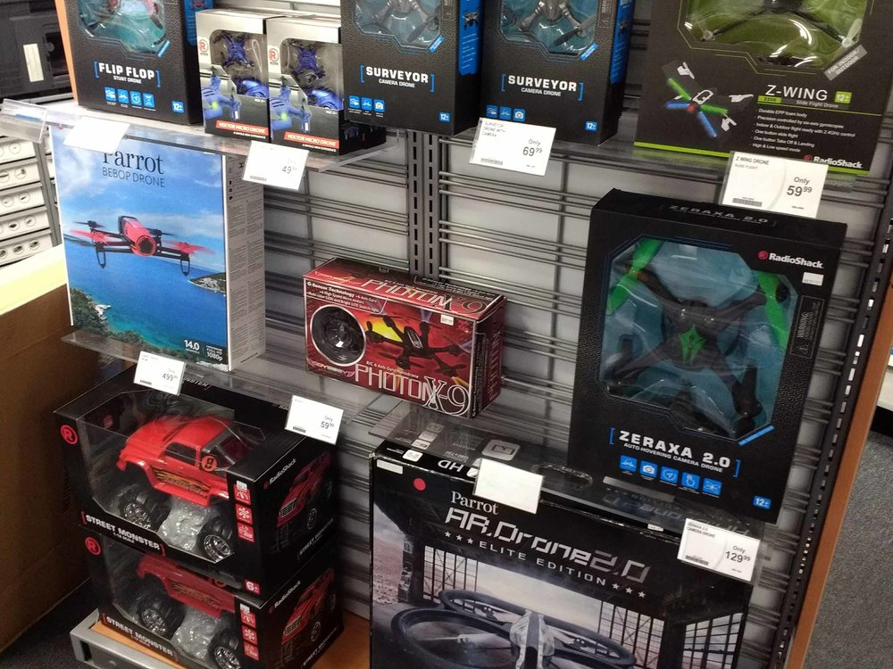 We have a complete selection of drones and radio controlled toys.