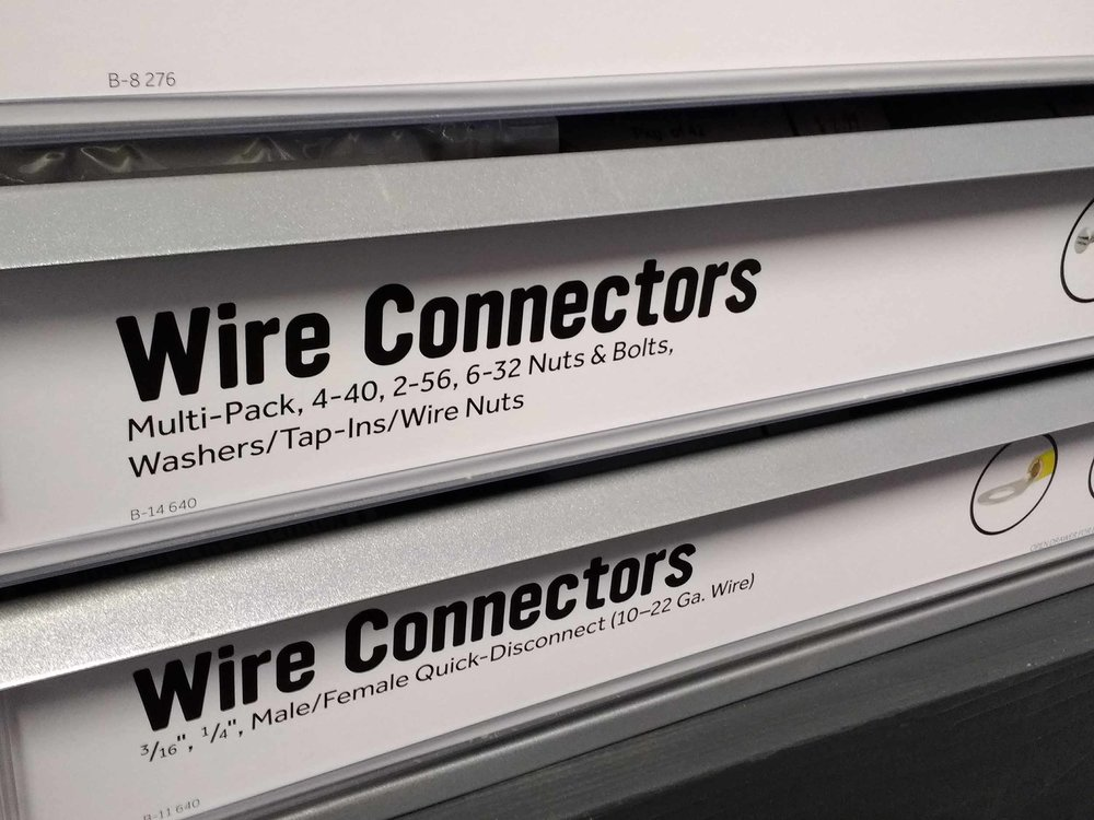 Drawers full of every variety of wire connectors needed for your electronics project.