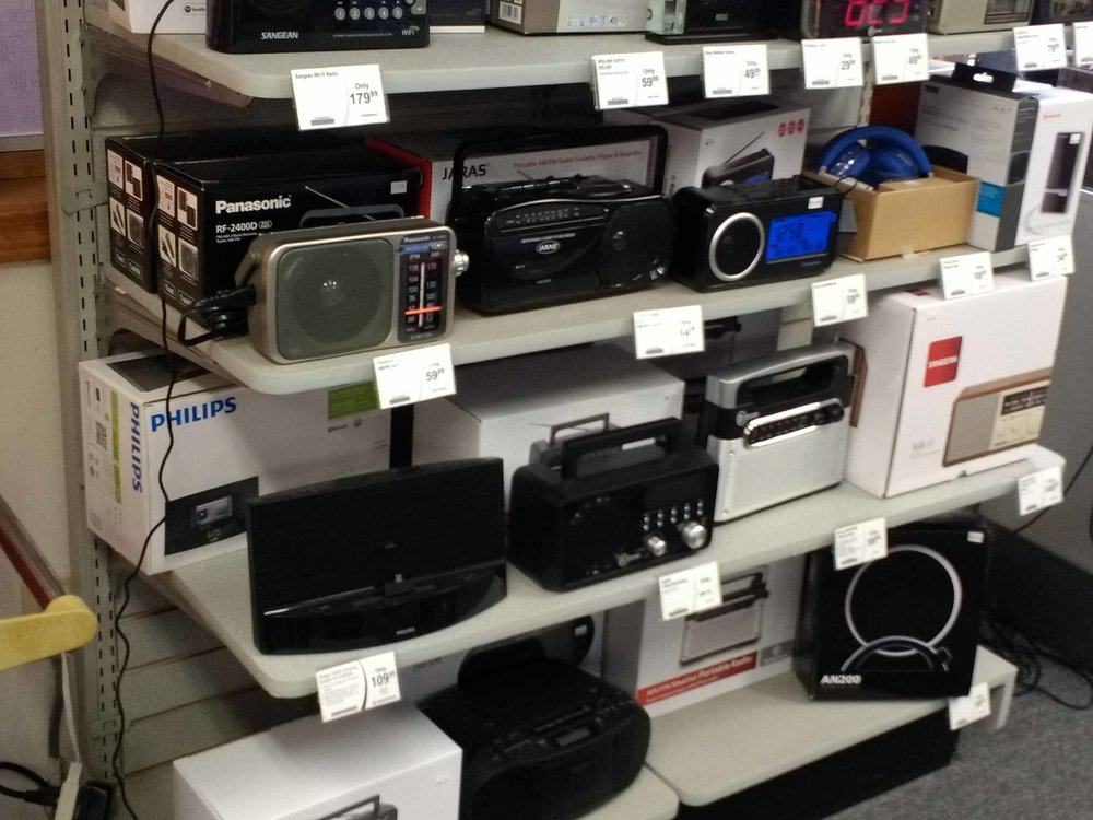 Our radio selection runs from portable am/fm to radios with cassette players to shortwave radios to clock radios.