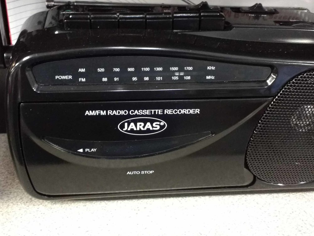 We stock am/fm radios with cassette recorders.