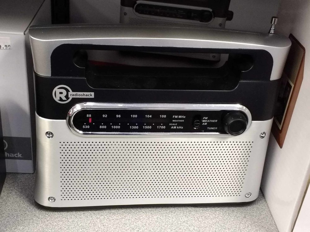 RadioShack brand radios are always in stock and often on sale.