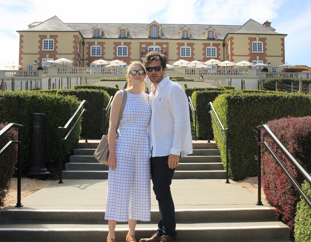At Domaine Carneros. Wearing:  Anthropologie  jumpsuit and  Le Specs sunglasses