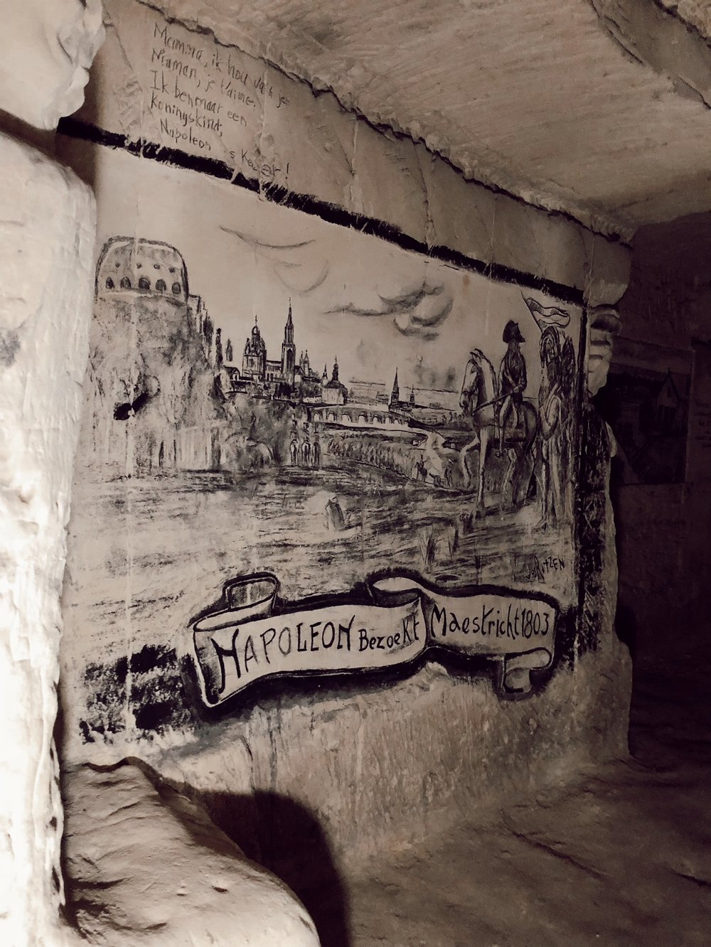 Charcoal painting in the tunnels