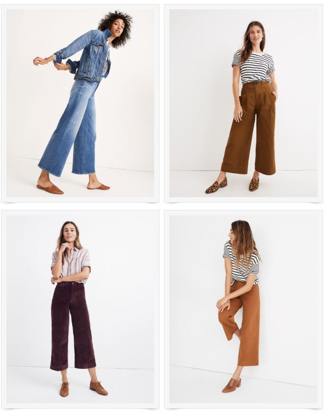 1)  Wide-Leg Crop Jeans , 2)  Rust Pleated Wide-Leg Pants ,  3)  Velvet Wide-Leg Crop , 4)  Wide-Leg Crop  (comes in multiple colors)