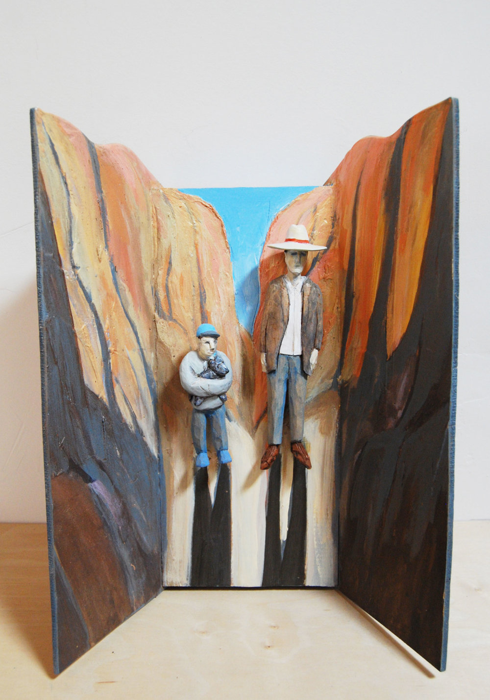 "Canyon carved and painted wood 14"" x 10"" x 5""   Inquire >"