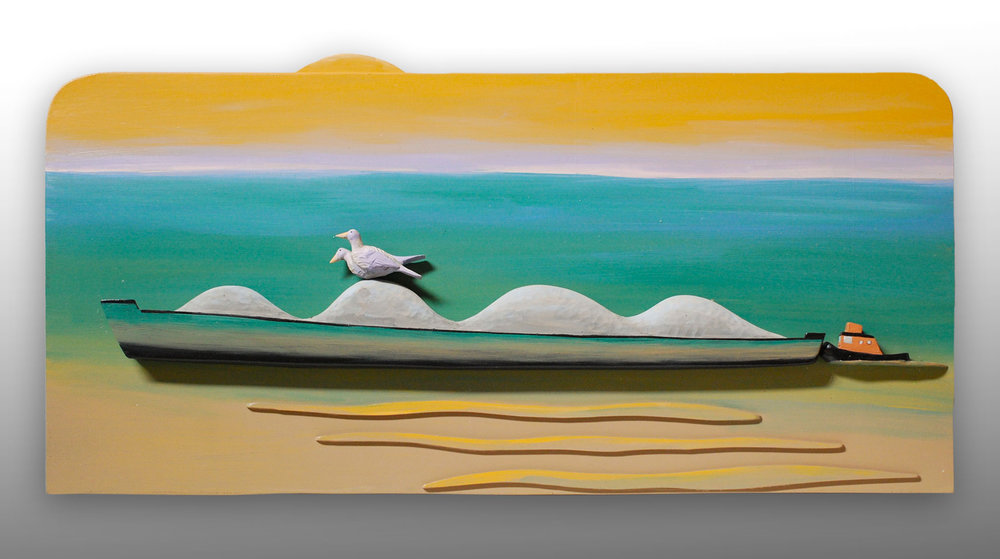 "To the sea carved and painted wood 16"" x 32"" x 3""   Inquire >"