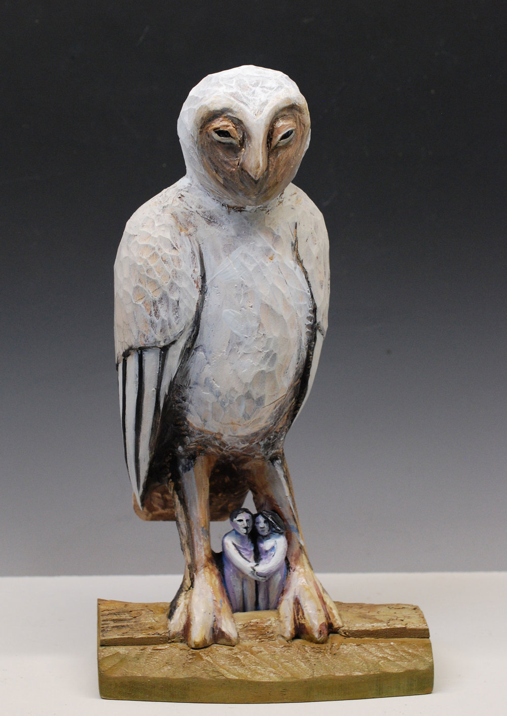 "Under the owl carved and painted wood 13"" x 7"" x 4""   Inquire >"