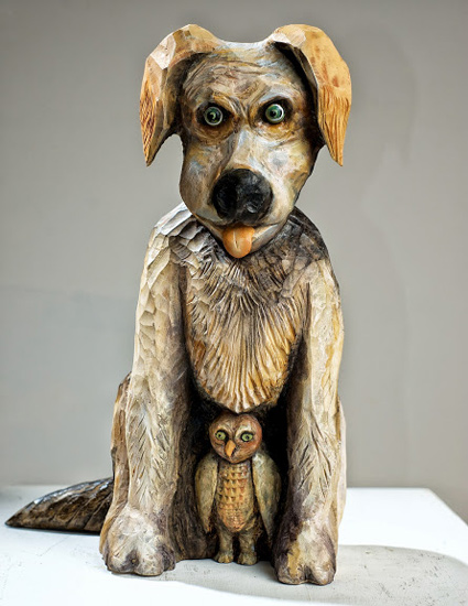 "Watchdog, 2014 carved and painted basswood 7"" x 12"" x 7"""
