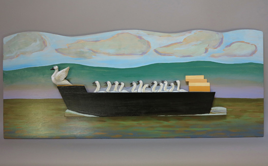 "Passing Swans, 2014 carved and painted basswood 16"" x 38"" x 2"""
