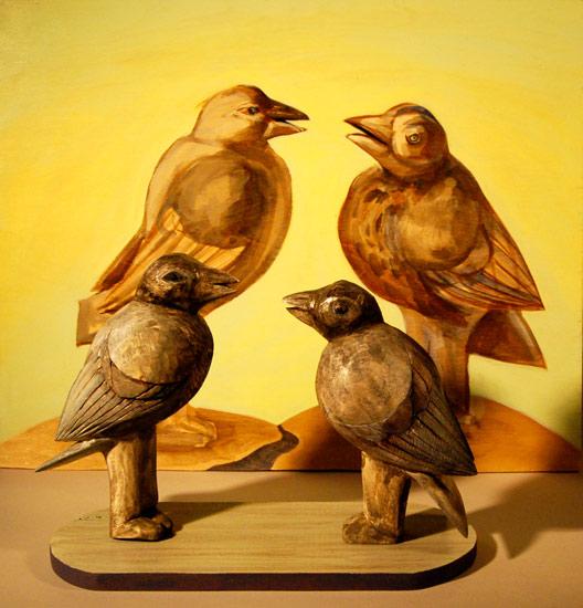 """Straight Talking Crows, 2011 9""""x12""""x6"""""""