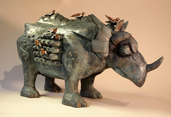 "Rhino poised for Flight, 2010 22""x14""x8"""