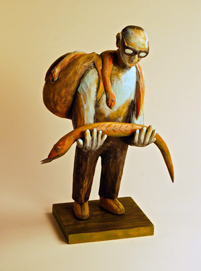 "Snake Salesman, 2009 carved and painted wood 15"" x 10"" x 6"""