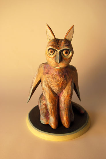 "Owlcat, 2007 carved and painted wood 13"" x 8.5"" x 8.5"""