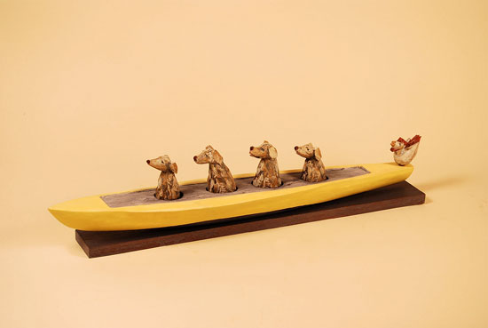 "Four Dog Crew, 2007 carved and painted wood 20"" x 4.5"" x 3"""