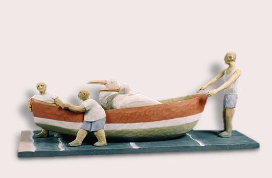 "Bringing the Boat In 12""x28""x9"""