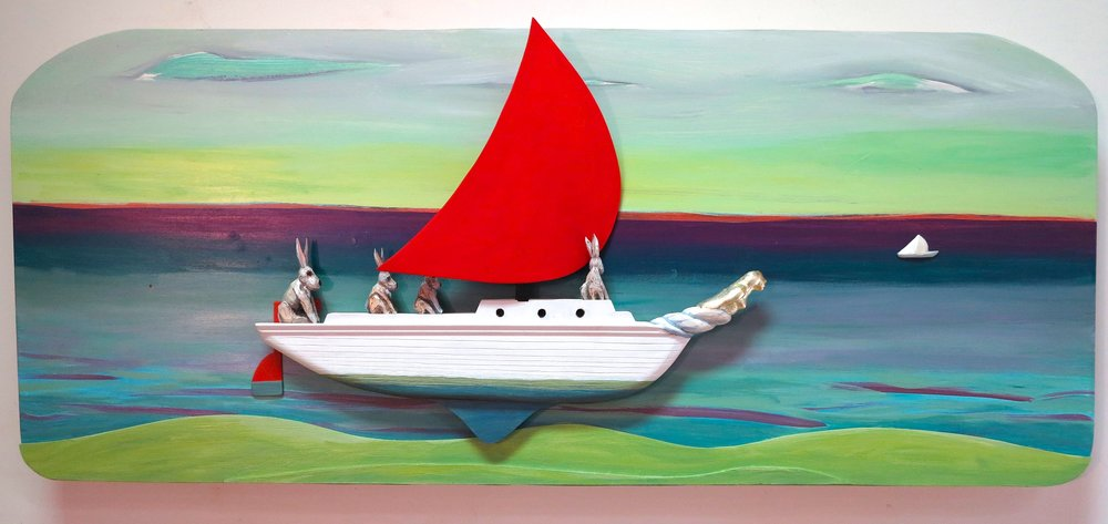 "Sailor's Delight carved and painted wood  26"" x 38"" x 5""   inquire>"