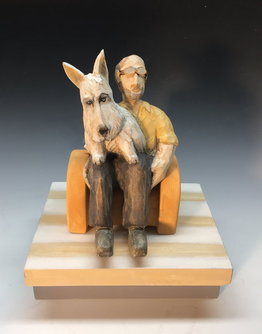 """Lapdog  carved and painted wood 8"""" x 6"""" x 6"""", 2018 SOLD"""