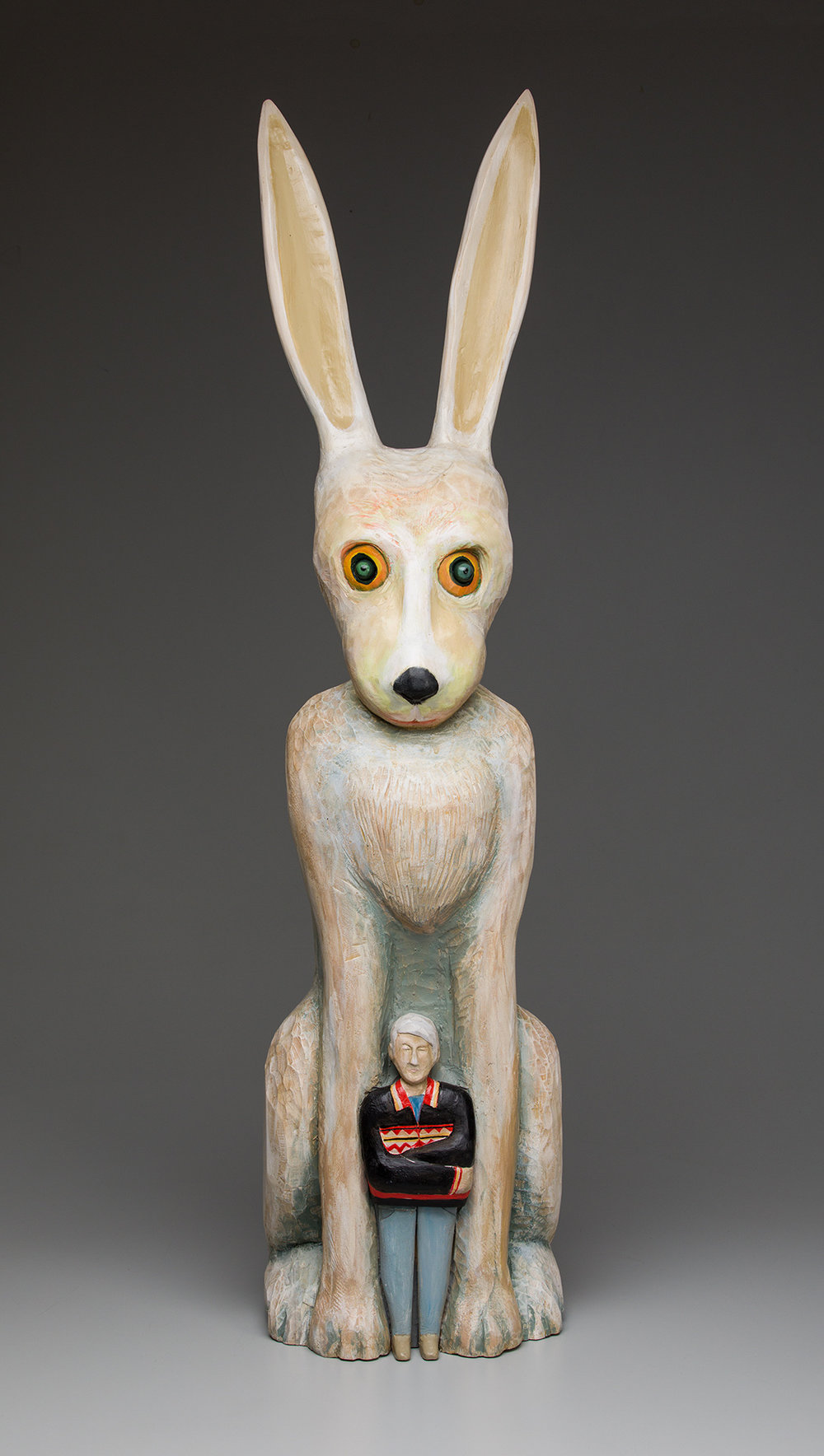 """Chief  carved and painted wood, glass eyes 36"""" x 13"""" x 13"""", 2018  SOLD"""
