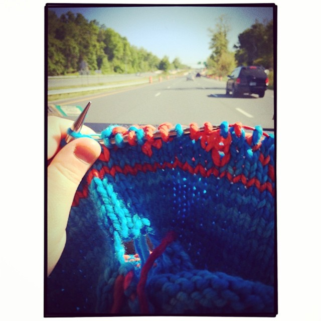 mini road trip knitting
