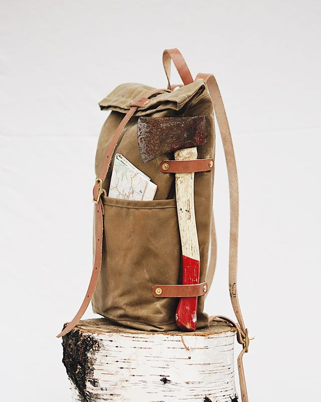 "you know when your walking down the street and your like ""damn, I really wish I had a convenient way to attach my axe to my backpack!"" Well, we got chu 😏 // The Hudson Backpack // $276 CAD *also, it has a laptop sleeve"
