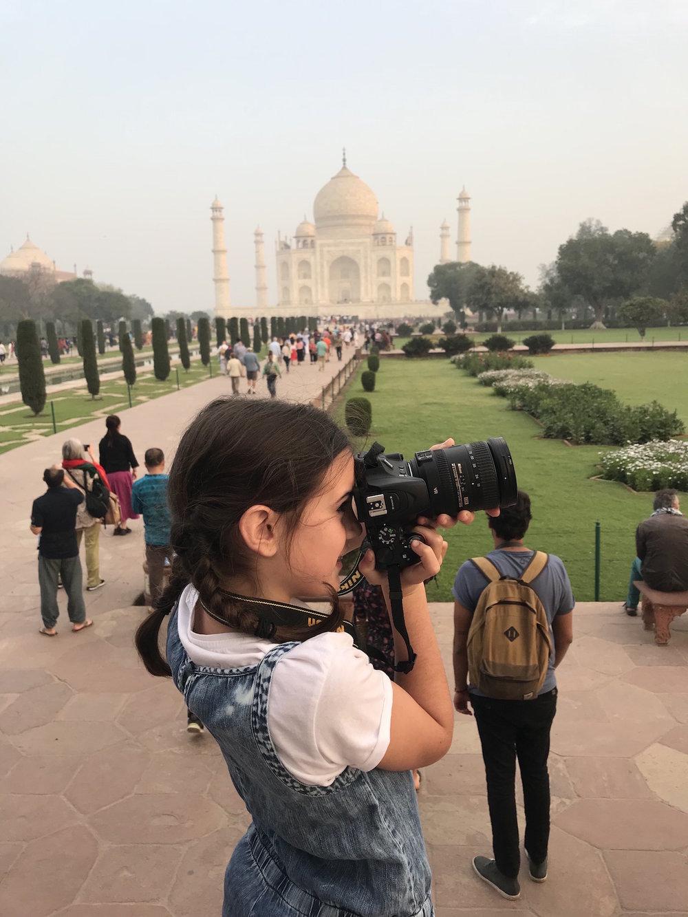 The Taj Mahal at 6:30 AM, just after sunrise