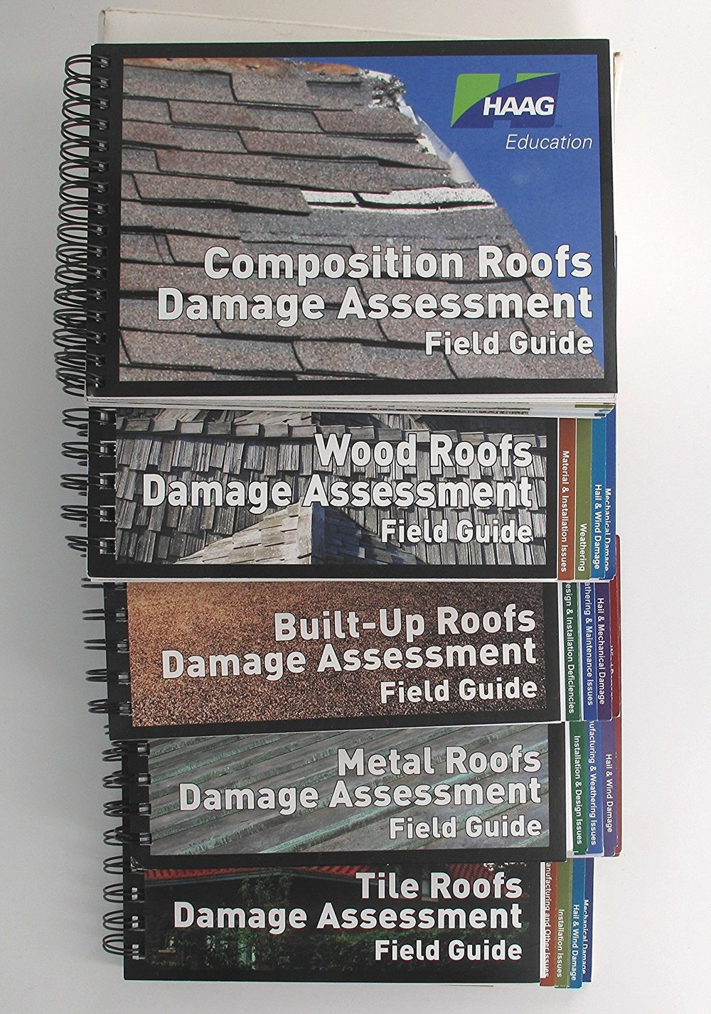 Haag Engineering Books - The number of times I've shown an insured or a roofer a photo from one of my Haag books can't be counted. These are the GOLD STANDARD of roof damage evaluation. I know of no other resource that comes close to matching these books in quality.Plus, they're heavily constructed so they'll take YEARS of abuse on the road.Simply a must-have for the working cat adjuster.