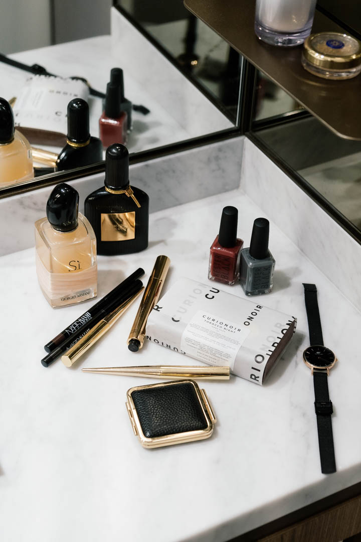 That Glorious Night - Giorgio Armani Si Rose, Tom Ford Black Orchid, NARS x Sarah Moon Kohl Liners, YSL Touche Eclat, Hourglass Confession Lipstick, Estee Lauder x Victoria Beckham Creme Blush, Kester Black in Wine and Grey, Daniel Wellington Classic Petite, Curio Noir Tobacco Night