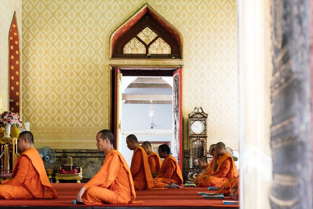 Monks at Wat Ben (The Marble Temple)
