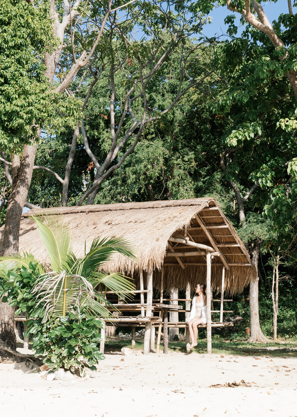 Resting in the  kubo ( Tagalog word for hut)
