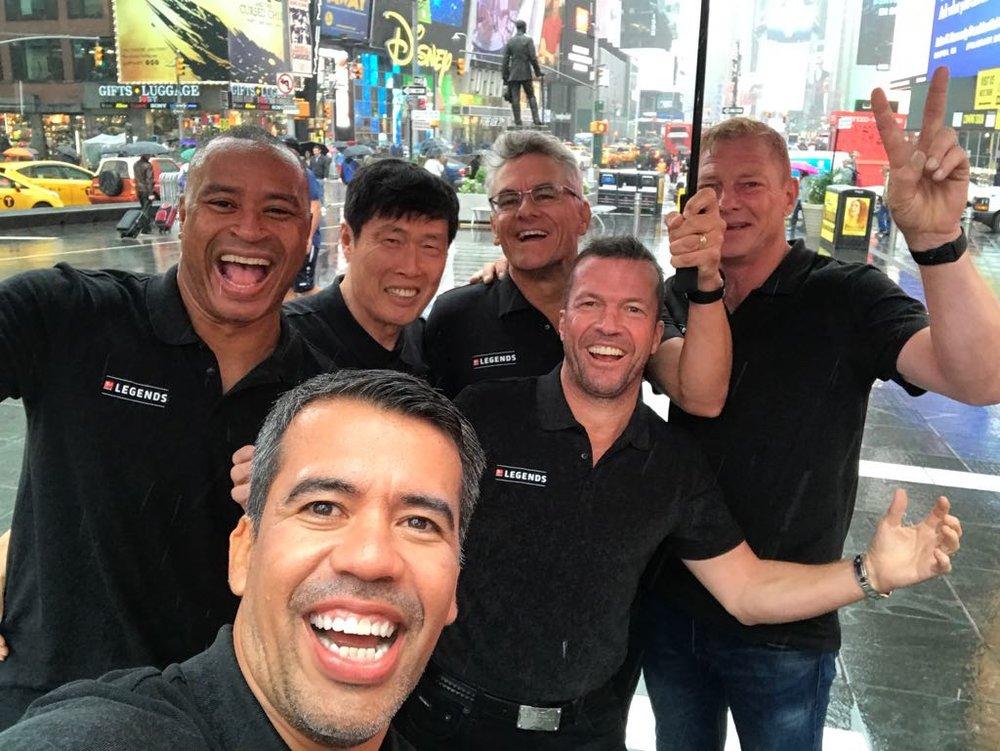 At Time Square with Paulo Sergio, Cha Bum Kun (S Korea), Wynton Rufer, Lothar Matthaus, Jorg Albertz (Germany) & in the front Pável Pardo (Mexico)