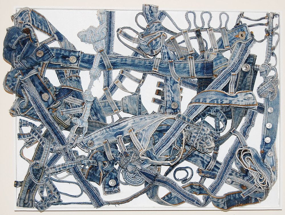 "Denim Doodle #6, 2011   denim pieces   18""x24""x5"