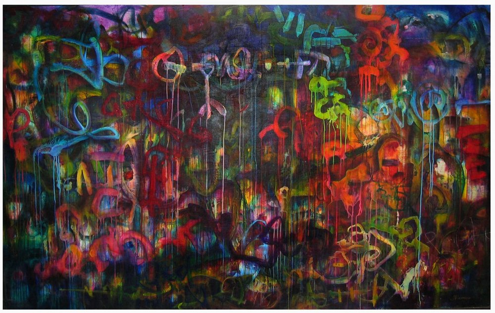 "Soul of the Deepest Roots, 1998  acrylic on wood panel   60""x92""x3"""