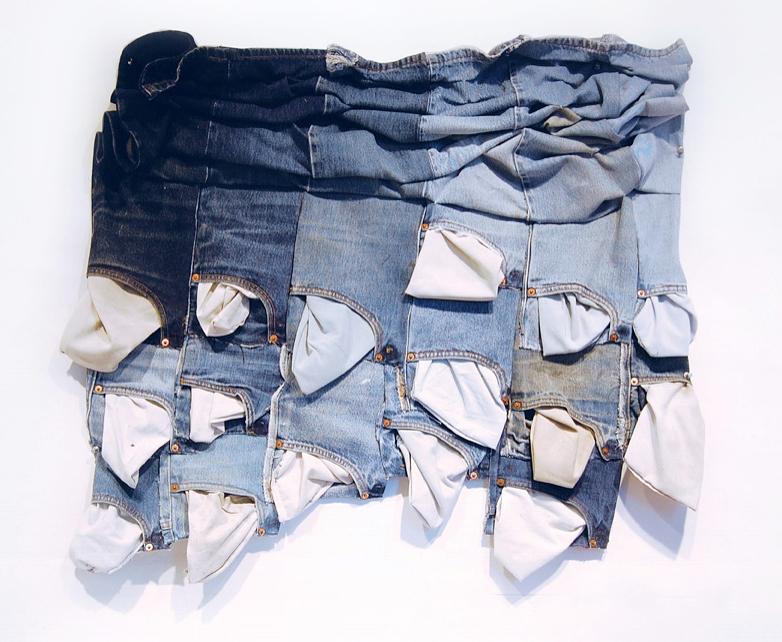 """Squeeze, 2008   16 denim front legs 29""""x36"""""""
