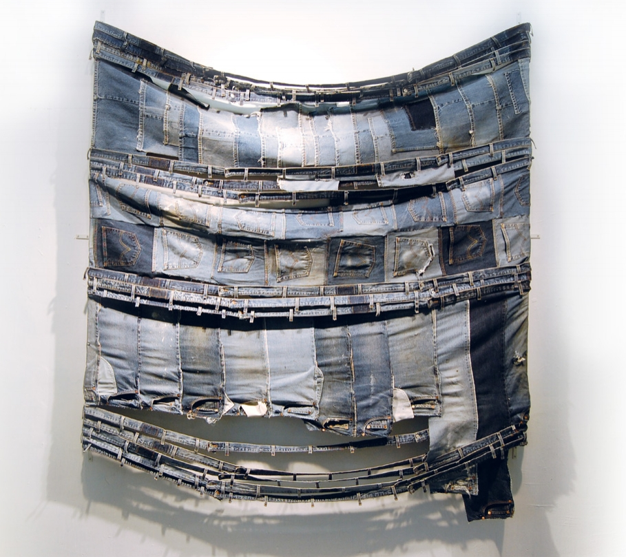 "Stretch, 2008    denim pieces   85"" x 78""x4"""