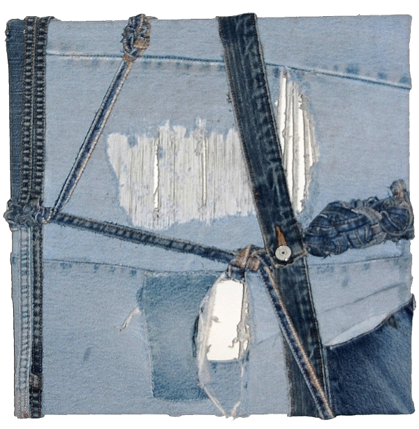 "Bound, 2010   denim pieces   16""x16"""