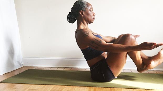 flex feet & cross shins. engage core. slow it down. pull heels to seat.