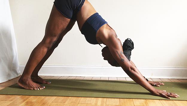 adho muka savasana.  (downward facing dog pose): push into hands, lift belly & press into heels