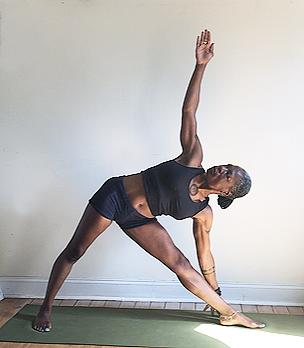 utthita trikonasana. (triangle pose) front knee straight, but not locked.
