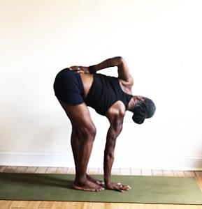 bend same knee as hand on floor. twist & turn chest.