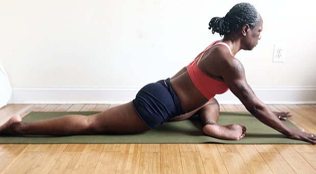 long spine. walk hands and chest forward. lay ribs over front shin.