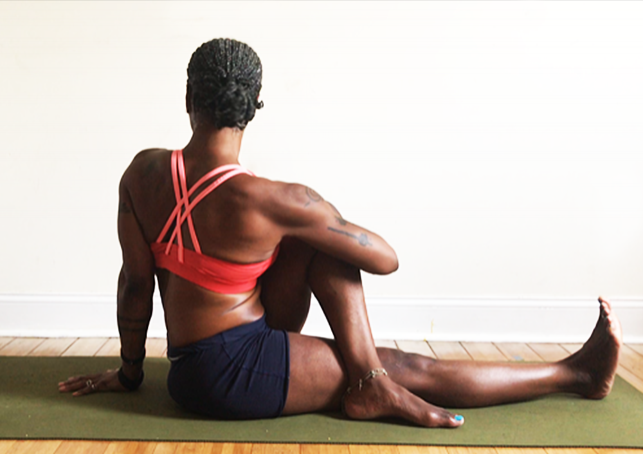 ardha matsyeandrrasana III. (half lord of the fishes three pose) foot of bent leg outside extended knee. hug bent knee into chest to twist.