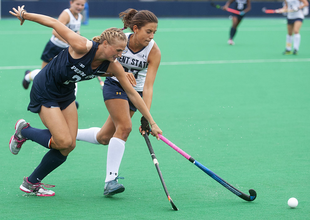 Forward Aurelia Meijer (23) and midfielder Berta Jover Llorens (27) run after the ball during the Penn State v. Kent State field hockey game at the Field Hockey Complex on Friday, September 7, 2018. Penn State defeated Kent State 8-0.